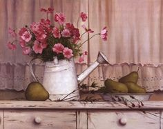 Pink Flowers and Pears, Art Print by T.C. Chiu