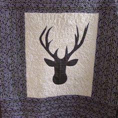 Black and Gold - Deer head crib bedding item - Deer crib quilt - Modern blanket - Deer nursery - Ready to ship by createdbymammy on Etsy