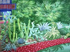 David Hockney - Cactus Garden IV, 2003 watercolor on paper panels) 36 x 48 in. x cm) Private collection David Hockney Artist, David Hockney Paintings, Robert Rauschenberg, Edward Hopper, North Yorkshire, Classical Realism, Pop Art Movement, Image Painting, National Portrait Gallery