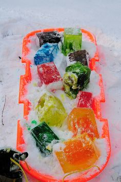 colorful ice blocks to play with outside (start saving cartons!)