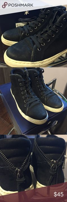 Splendid Leather High Top Sneakers On trend hi tops with edgy zipper detail. One of the leather tails on the decorative zipper detail in back broke off. (Picture 3). EUC with original box. Splendid Shoes Sneakers