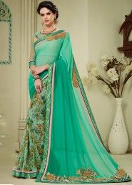 Party Wear Sea Green Georgette Patch Work Saree