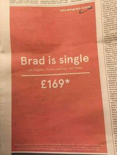 Brad Pitt is single Ad by Norwegian Airlines [540x720] - See Blend for More!
