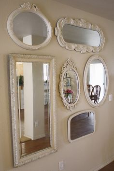Decorative frame sri for design mounted target full designs white mirror wall ideas accent hanging room oval rectangular lanka length large mirrors wood Mirror Wall Collage, Mirror Gallery Wall, Mirror Painting, Frames On Wall, Old Mirrors, My Mirror, Beveled Mirror, Wall Of Mirrors, Painted Mirrors