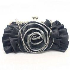 Satin Handmade Evening Handbag Purse Clutch Bag Wedding Bag Party Bag (black)