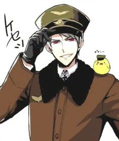 Prussia - hetalia | look at Gilbird and his little hat!!