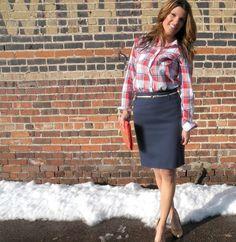 navy blue pencil skirt + plaid http://marionberrystyle.blogspot.com/
