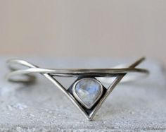 Silver cuff bracelet with aquamarine. Sterling silver