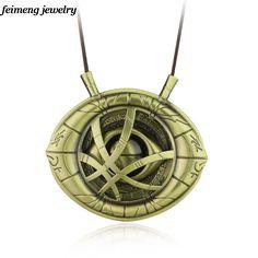Big Doctor Strange Necklace Dr.Strange Steve Cosplay Agamotto eye Pendent Necklace Genuine Leather Jewelry Christmas Gift8*8.4cm