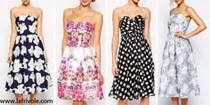strapless bandeau midi prom dress skater dress in polka dot chiffon or in floral print satin and organza