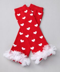 Red Heart Ruffle Leg Warmers by Pink Petunia Boutique $8.99