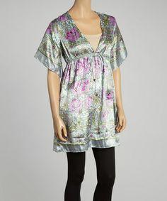 Another great find on #zulily! Purple & Sage Floral Empire-Waist Tunic #zulilyfinds