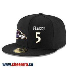 Baltimore Ravens #5 Joe Flacco Snapback Cap NFL Player Black with White Number Hat