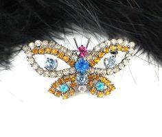 Unique Czech Rhinestone Butterfly Pin