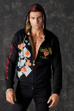 King of Hearts Glam Rock Black Hoodie Men Long Sleeved Zip Hoodie Serigraphy Embroidery Elastic Satin Lining Cool Men Clothes Boys Shirts, T Shirts For Women, Elastic Satin, King Of Hearts, Unique Hoodies, Rock Outfits, Glam Rock, Zip Hoodie