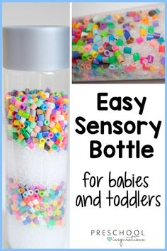 This musical sensory shaker bottle is so easy to make, and you probably already have all the ingredients! It's mesmerizing for babies and toddlers, who will love its gentle sound. Calm Down Jar, Calm Down Bottle, Sensory Bottles Preschool, Sensory Bins, Fun Activities For Kids, Sensory Activities, Sensory Play Recipes, Baby Sounds, Discovery Bottles