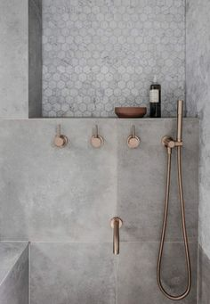 Rethinking the Shower Niche (& Why I Think The Ledge Is Next) Rose Gold Bathroom Faucet! The post Rethinking the Shower Niche (& Why I Think The Ledge Is Next) appeared first on Badezimmer ideen. Gold Bathroom Faucet, Bathroom Renos, Small Bathroom, Bathroom Remodeling, Bathroom Ideas, Remodeling Ideas, Shower Ideas, Grey Marble Bathroom, Cement Bathroom