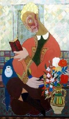 Abdelaziz Gorgi was a Tunisian artist. He was one of the founders of the Tunis School of painting and one of the most prominent members of Tunisia's cultural scene. Reading Themes, Arabic Art, Illustrations, Color Effect, Art Plastique, Portrait Art, Islamic Art, Folk Art, Street Art