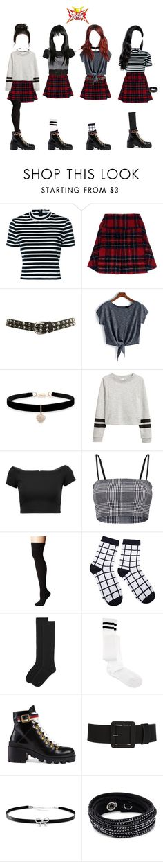"""""""{ ignite [debut stage] """"oh no"""" on music bank }"""" by galaxavery ❤ liked on Polyvore featuring T By Alexander Wang, Pinko, Miss Selfridge, Betsey Johnson, Alice + Olivia, Socksmith, Accessorize, ASOS, Gucci and Giani Bernini"""