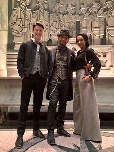 Grant Gustin, Patrick Sabongui and Candice Patton