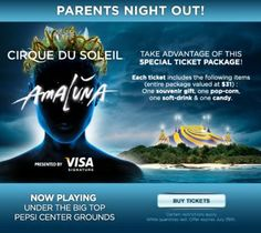 Cirque du Soleil's Amaluna in Denver, a special 'Parents night out' ticket deal right here!