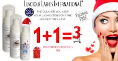XMAS CLEANSER SPECIAL BUY 2 GET 1 FREE  R  170.00 Lash Extension Glue, Eyelash Extension Kits, Eyelash Extension Training, Eyebrow Extensions, Semi Permanent Eyelashes, Eyelash Glue, Cleanser, Xmas, Free