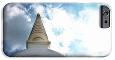 Stupa and bright sky iPhone 6 Case. Stupa reaching for the sky.  Free from Wikipedia: A stupa is a mound-like or semi-hemispherical structure containing Buddhist relics, typically the ashes of Buddhist monks, used by Buddhists as a place of meditation.