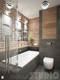Stylish Exposed Brick Bathroom Ideas You Must See – Modern rustic bathroom styles showing amazing viewpoint of brick wall decoration Image 39 Trendy Bathroom, Modern Bathroom Design, Bathroom Styling, Brick Bathroom, Amazing Bathrooms, Rustic Bathroom, Rustic Bathtubs, Bathrooms Remodel, Bathroom Design