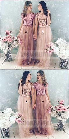 Shinny Top Blush Sequin Lovely Hot Sale Two Piece Tulle Round Neck Long Modest Cheap Bridesmaid Dresses, Bridesmaid Dresses, VB0733 #bridesmaiddress #bridesmaidsdresses