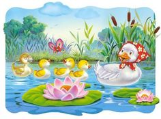 This is an amazing short story for kids, the ugly duckling story. Once upon a time, there was a duck. She lived in the forest. One day she laid some eggs...