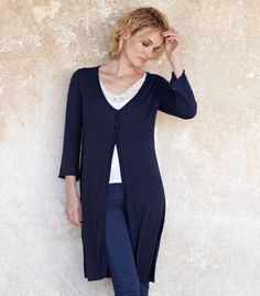 WOOL OVERS Extra Long V Neck Cardigan