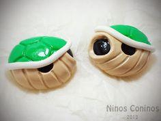 Green shells Mario Bros Polymer clay Hand made
