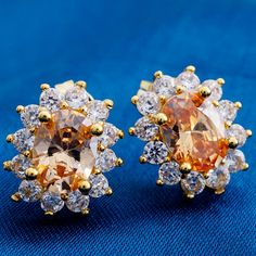 NEW pop oval flower stud earrings for women champagne zirconia crystal fashion jewelry wholesale H0454 #Affiliate