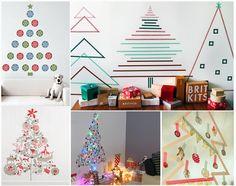 árboles de navidad sin arbol. una manualidad para niños y para espacios pequeños Christmas tree #DIY #Wall #Decoration