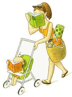A la playa… leyendo. Familias lectoras en verano (ilustración de Greg Clarke)
