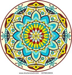 Round mandala. Colorful mandala, with happy colors. Vector illustration.