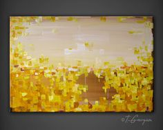 "Original contemporary modern painting XLarge 24x36"" abstract landscape 'Amber' by Tatiana Georgieva, $339.00 via Etsy. Yellow, gold, cream, orange. Ready to hang fine art."