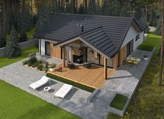Simon IV G2 energo - zdjęcie 4 Cabin House Plans, Bungalow House Plans, Bungalow House Design, Small House Design, New House Plans, Dream House Plans, House Paint Exterior, Dream House Exterior, Exterior Design