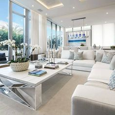 Living in an apartment, or in an older home with tiny rooms, can present a challenge: how to make your limited space seem larger. Try these 80 Stunning Modern Apartment Living Room Decor Ideas And Remodel. Coastal Living Rooms, Living Room Interior, Living Room Decor, Living Area, Coastal Interior, Coastal Furniture, Coastal Decor, Coastal Cottage, Rustic Furniture