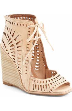 Jeffrey Campbell 'Rodillo-Hi' Wedge Sandal. Eye-catching geometric cutouts call attention to a vintage-cool peep-toe sandal set on a lofty stacked wedge. Zapatos Peep Toe, Peep Toe Shoes, Peep Toe Wedges, Shoes Heels Wedges, Shoes Sandals, Leather Sandals, Nude Wedges, Nude Sandals, Nude Shoes