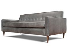Grey Leather l Jefferson Leather Sofa l Thrive Furniture l Handmade Midcentury Modern l Made in America