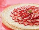 Be-My-Valentine Strawberry Tart. Uses a sugar cookie base, a cream cheese covering, and strawberries, all drizzled with white chocolate.