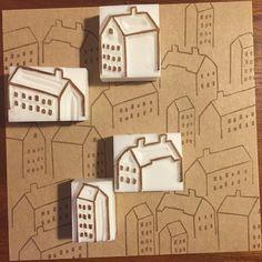 #消しゴムはんこ#はんこ#EraserStamp#stamp#craft#イラスト#illustration#ハンドメイド#handmade#手作り#雑貨#街#town by _____yu____
