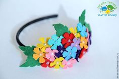 Headbands with felt flowers, handmade