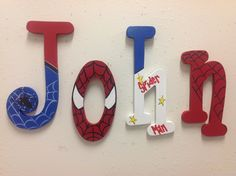 Spider man letters wood letters room decor by TWOPINKDOTS on Etsy, $10.00
