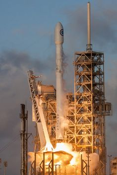 Official SpaceX photos from yesterday's beautiful sunrise Falcon 9 launch with the satellite. Liftoff occurred at EDT with the first stage touching down at eight minute. Falcon 9 Launch, Nasa Pictures, Spacex Rocket, Space Shuttle Challenger, Spacex Falcon, Spacex Launch, Cape Canaveral, Launch Pad, Astronomy