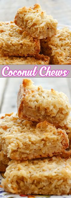 Chewy coconut filling layered onto a buttery shortbread crust; this recipe is so. Chewy coconut filling layered onto a buttery shortbread crust; this recipe is so simple to make! 13 Desserts, Coconut Desserts, Coconut Recipes, Gluten Free Desserts, Gluten Free Recipes, Baking Recipes, Cookie Recipes, Delicious Desserts, Dessert Recipes