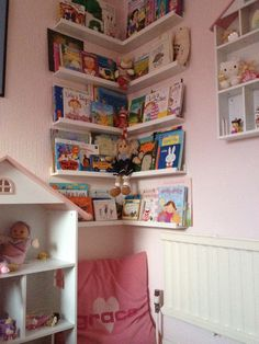 Children's reading corner created with Ikea Ribba picture ledges