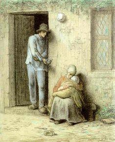The Infant (The Sick Child) : Jean-Francois Millet: 1858 Style: Realism - Technique: pastel, pencil : paper