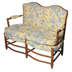 1st dibs-Charming French Toile Settee